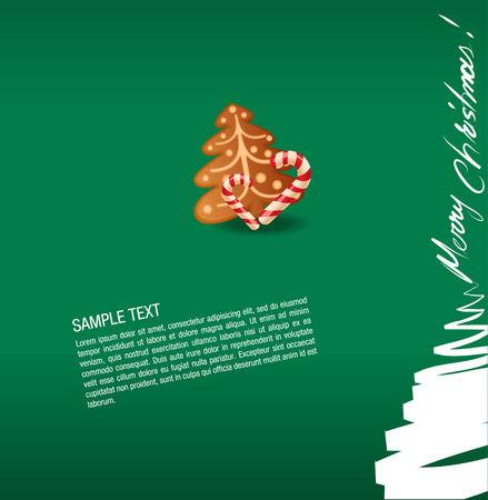 carte de voeux noel: g�teau de carte de v?ux-doux et gingerbread de No�l