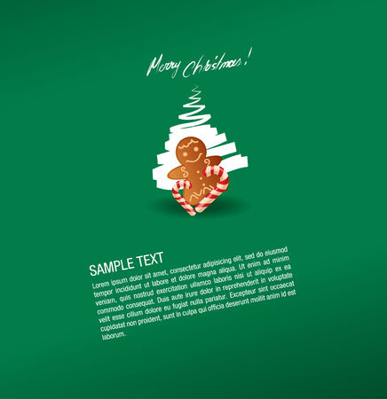 christmas greeting card- sweet and gingerbread cake Vector