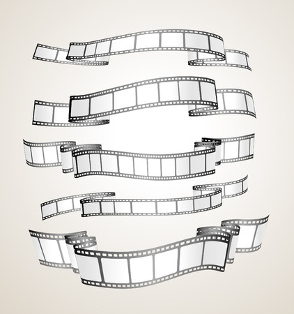 cinema strip: film strip banners - black and white-  Illustration