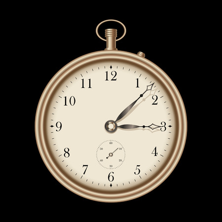 old watch: Gold vintage pocket clock Illustration