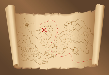 ancient map: old treasure map  Illustration