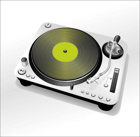 DJ turntable - green Stock Vector - 7395526