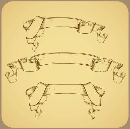 curled edges: Vintage banner - linea di disegno