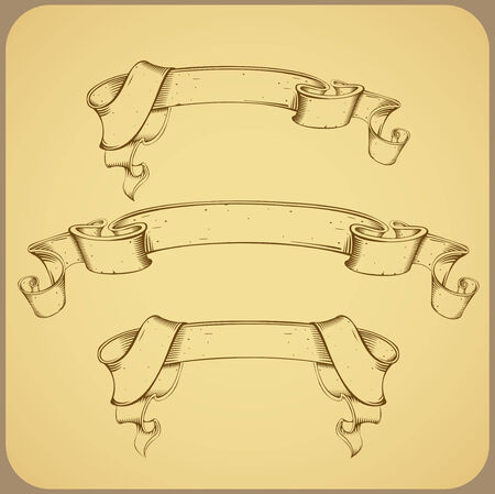 vintage banner- line drawing Stock Vector - 7395514