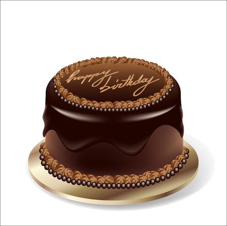 Birthday party chocolate cake Vector
