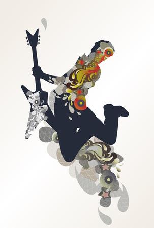 gitarist - decoratieve muziek achtergrond  Vector Illustratie