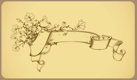 vintage banner with flower - line drawing Stock Vector - 7395512