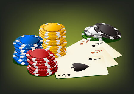 gambling chip and cards - isolated objects  Vector
