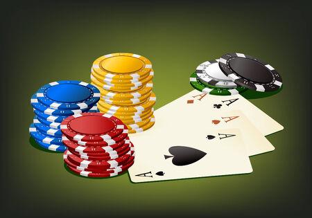 gambling chip: Juegos de azar chip y tarjetas - objetos aislados  Vectores