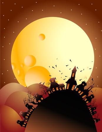 full moon halloween night Stock Vector - 7482554