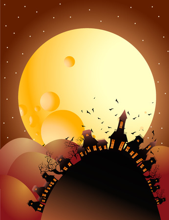full moon halloween night Stock Vector - 7482554