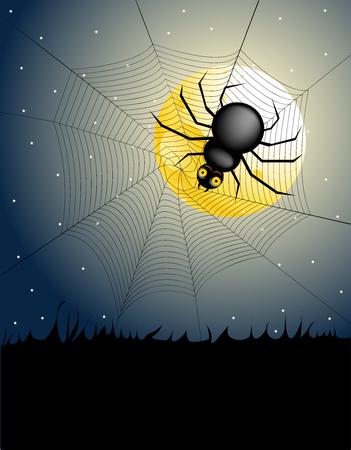 halloween night - spider  Stock Vector - 7482558
