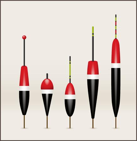 floater: Five fishing floats-objects