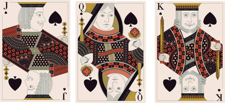 king and queen: jack, king,queen of spades-