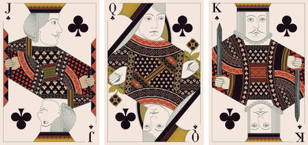 king and queen: jack, king,queen of clubs -  Editorial