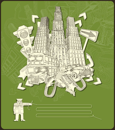 city elements - composition -green  Vector