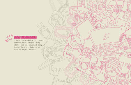 line drawing computer theme  Vector