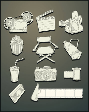line drawing movie objects Stock Vector - 7510757