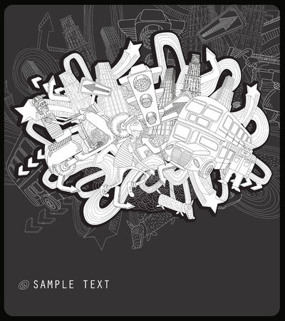 line drawing chaotic city   -black and white background  Stock Vector - 7510808