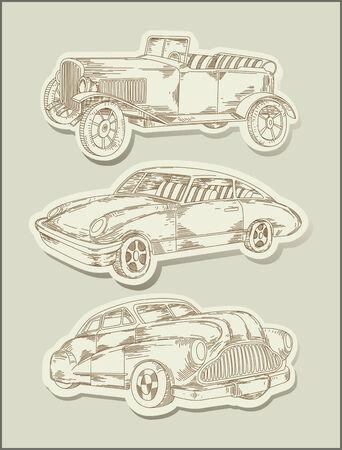 voitures Vintage - dessin au trait-objets