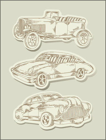 vintage cars- line drawing- objects Illustration