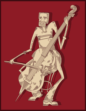 cellist: cello player - line drawing -red background