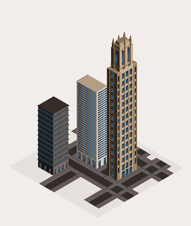isometric buildings Illustration