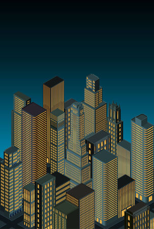 city at night -isometric perspective Vector
