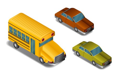 isometric cars and school bus Vector