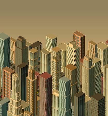 downtown district: city-isometric  Illustration