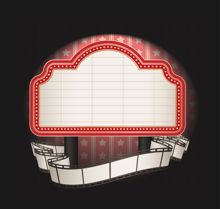 movie film reel: marquee with film strip banner