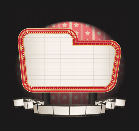 movie sign: marquee with film strip banner