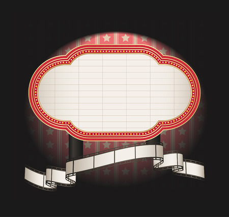 marquee with film strip banner Vector