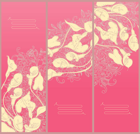 decorative floral banners- line drawing calla background  Vector