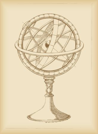 astronomie: Armillarsphäre - Zeichnung Illustration