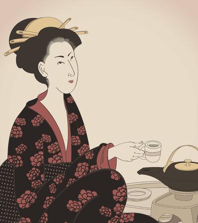 kimono: detalle de una mujer que beber t� japon�s estilo plano  Vectores