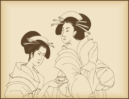 eventail japonais: Womens boire le th� japonais style dessin