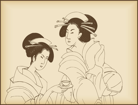 japanese flower: womens drinking tea- Japanese style drawing Illustration