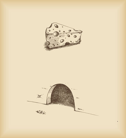 hale: cheese and mouse hole -drawing