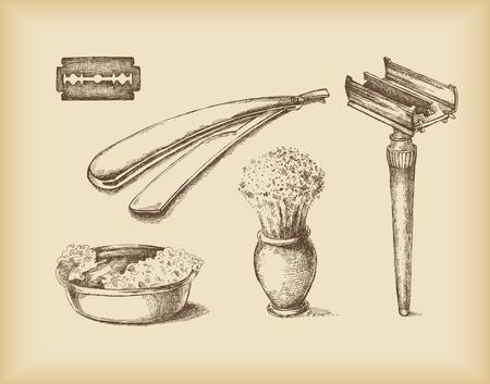 парикмахер: Бритья Equipment-изолированные объекты- рисунок