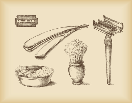 Shaving Equipment -isolated objects- drawing  Vector