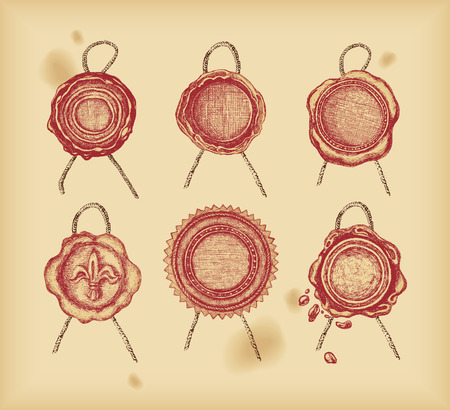wax stamp: Wax seal - drawing -vector
