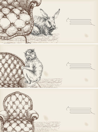 decorative drawing banners- details of furniture and animals  Illustration