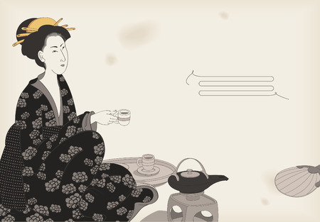 japanese kimono: Woman drinking tea- Japanese style drawing