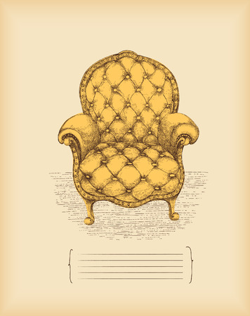 vintage furniture: vintage armchair -drawing -vector