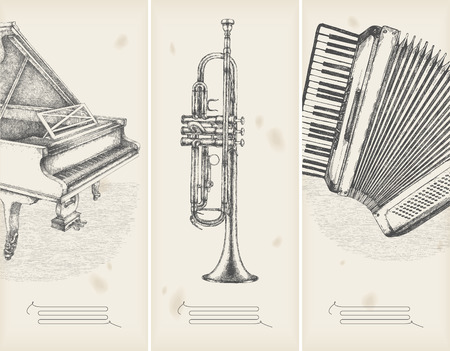 Trumpets: music theme drawings -retro banners