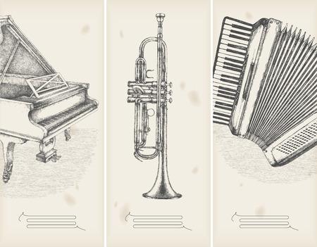 accord�on: musique th�me dessins-banni�res r�tro  Illustration