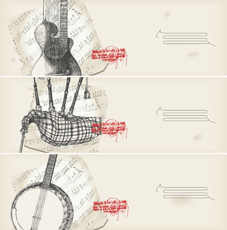 music theme banners -traditional instruments  Stock Vector - 8078819