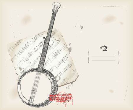 Banjo drawing- music instrument with score- background  Illustration