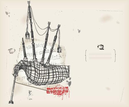 Instrument de musique de dessin cornemuse avec fond score